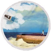 Lighthouse At Whitehaven Round Beach Towel