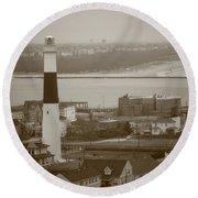 Lighthouse - Atlantic City Round Beach Towel