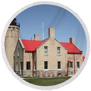 Lighthouse - Mackinac Point Michigan Round Beach Towel