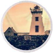 Lighthouse Prince Edward Island Round Beach Towel by Edward Fielding