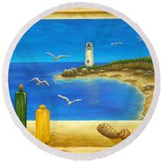 Lighthouse View Round Beach Towel