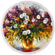 Lilac And Camomiles Round Beach Towel