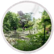 Lily Pond In Monets Garden Round Beach Towel