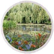Lily Pond - Monets Garden Round Beach Towel