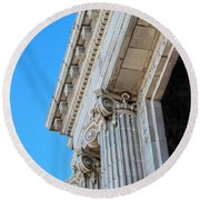 Lincoln County Courthouse Columns Looking Up 02 Round Beach Towel