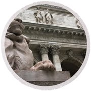 Lion New York Public Library Round Beach Towel