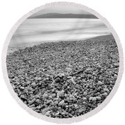 Little Stones At The Silver Sea Round Beach Towel