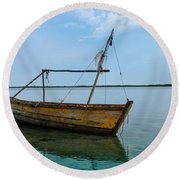 Lonely Boat Round Beach Towel by Jean Noren