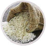 Long Grain Rice In Burlap Sack Round Beach Towel