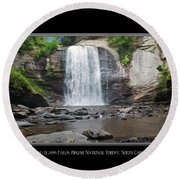 Looking Glass Falls North Carolina Round Beach Towel