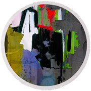 Los Angeles Map Watercolor Round Beach Towel by Marvin Blaine