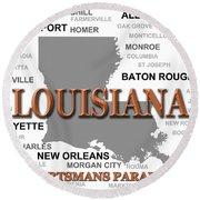 Louisiana State Pride Map Silhouette  Round Beach Towel