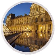 Louvre Reflections Round Beach Towel by Brian Jannsen