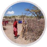 Maasai People And Their Village In Tanzania Round Beach Towel