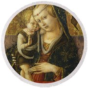 Madonna And Child Round Beach Towel by Carlo Crivelli