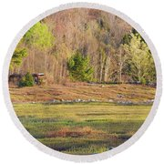 Maine Blueberry Field In Spring Round Beach Towel by Keith Webber Jr