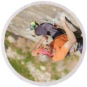 Man Climbing Re Azul, An Historic 7b Round Beach Towel