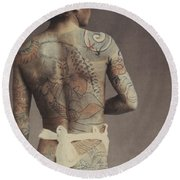 Man With Traditional Japanese Irezumi Tattoo Round Beach Towel by Japanese Photographer
