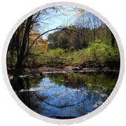 Mansfield Hollow Lake Round Beach Towel