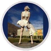 Marilyn In Palm Springs Round Beach Towel