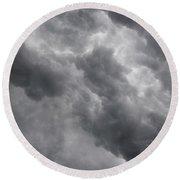 Masses Of Dark Clouds Round Beach Towel