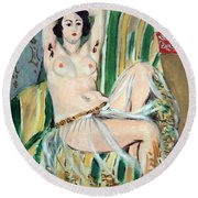 Matisse's Odalisque Seated With Arms Raised In Green Striped Chair Round Beach Towel