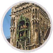 Mechanical Clock In Munich Germany Round Beach Towel