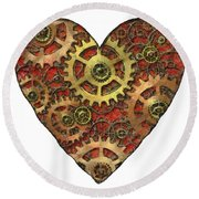 Mechanical Heart Round Beach Towel