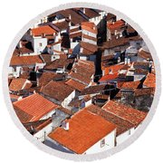 Medieval Town Rooftops Round Beach Towel