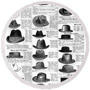 Men's Hats, 1895 Round Beach Towel