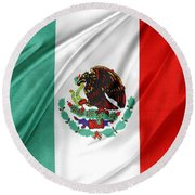 Mexican Flag Round Beach Towel