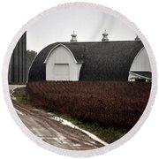 Michigan Barn With Grain Bins Rainy Day Usa Round Beach Towel