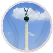 Millennium Monument In Budapest Round Beach Towel