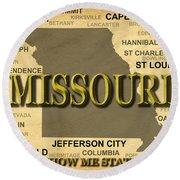 Missouri State Pride Map Silhouette  Round Beach Towel