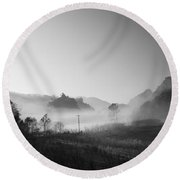 Mist In The Valley Round Beach Towel by Setsiri Silapasuwanchai