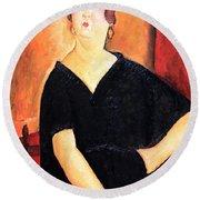 Modigliani's Madame Amedee -- Woman With Cigarette Round Beach Towel