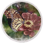 Monarch- Butterfly Mixed Media Photo Composite Round Beach Towel