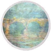 Monet's Waterloo Bridge In London At Sunset Round Beach Towel