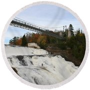 Montmorency Waterfall  Canada Round Beach Towel