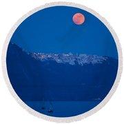 Moon Over Santorini Round Beach Towel