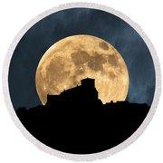 Moonstruck Over Tuscany Round Beach Towel