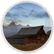 Morning At The South Moulton Barn Grand Tetons Round Beach Towel