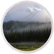 Mount Rainier Shrouded In Fog Round Beach Towel