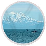 Mount Redoubt Across Cook Inlet From Ninilchik-ak   Round Beach Towel