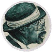 Mr Bowler Mustache Round Beach Towel