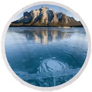 Mt. Michener And Ice On Abraham Lake Round Beach Towel