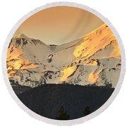 Mt. Shasta Sunset Panorama Round Beach Towel