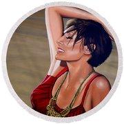 Natalie Imbruglia Painting Round Beach Towel