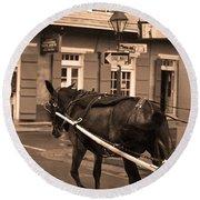 New Orleans - Bourbon Street Horse 3 Round Beach Towel