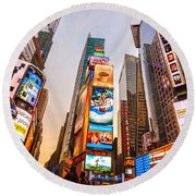 New York City - Times Square Round Beach Towel